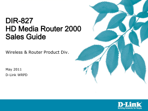 DIR-657 A1 Sales Guide - D-Link