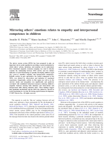 Mirroring others` emotions relates to empathy and