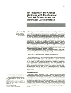 MR Imaging of the Cranial Meninges with Emphasis on Contrast