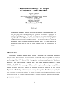 A Framework for Average Case Analysis of Conjunctive Learning