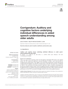 Corrigendum: Auditory and cognitive factors underlying