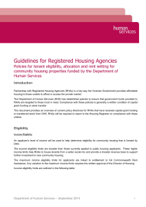 Guidelines for Registered Housing Agencies