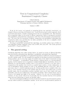Texts in Computational Complexity - The Faculty of Mathematics and