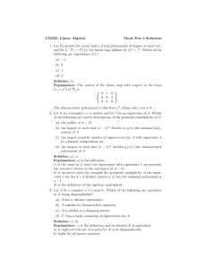 CM222, Linear Algebra Mock Test 3 Solutions 1. Let P2 denote the