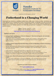 Welcomes you to a public seminar Fatherhood in a Changing World