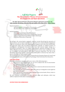 Call For Papers The Sensorimotor Theory of Consciousness