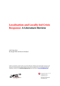Localisation and Locally-led Crisis Response: A Literature Review