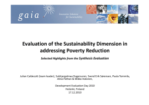 Evaluation of the Sustainability Dimension in addressing Poverty