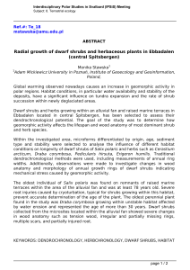 Radial growth of dwarf shrubs and herbaceous plants in Ebbadalen