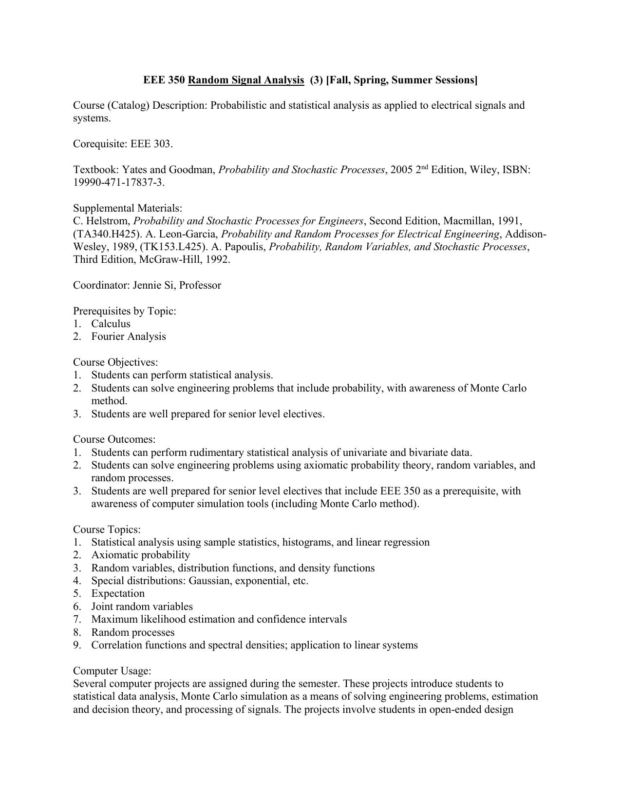 EEE 350 Random Signal Analysis (3) [F, S, SS]