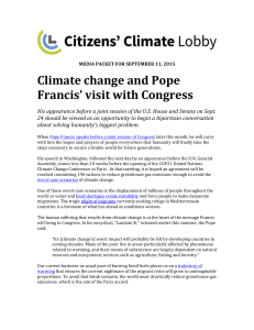 Climate change and Pope Francis` visit with Congress