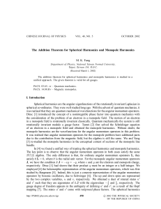 The Addition Theorem for Spherical Harmonics and Monopole