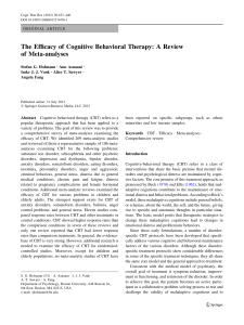 The Efficacy of Cognitive Behavioral Therapy: A Review of Meta