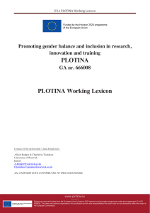 PLOTINA PLOTINA Working Lexicon