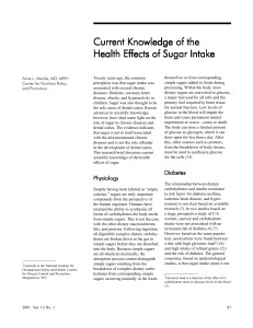 Current Knowledge of the Health Effects of Sugar Intake