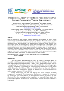 experimental study on the flow field between two square cylinders in