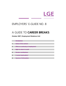 employers` e-guide no. 8 a guide to career breaks