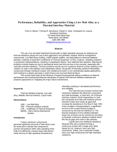 Performance, Reliability, and Approaches Using a Low Melt Alloy as