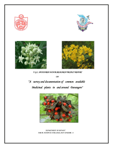 """A survey and documentation of common available Medicinal plants"