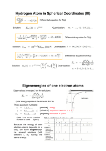 Hydrogen Atom in Spherical Coordinates (III) Eigenenergies of one