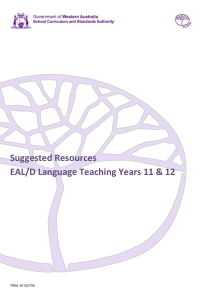 Suggested Resources EAL/D Language Teaching Years 11
