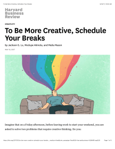 To Be More Creative, Schedule Your Breaks