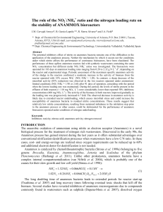 NH4 ratio and the nitrogen loading rate on the stability of ANAMMOX