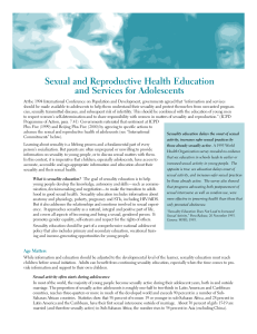 Sexual and Reproductive Health Education and Services for