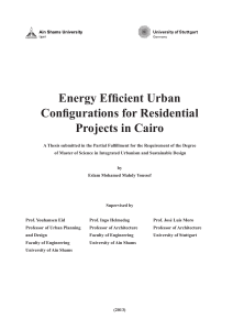 Energy Efficient Urban Configurations for Residential Projects in Cairo