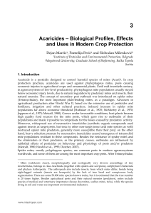 Acaricides – Biological Profiles, Effects and Uses in