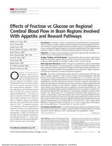 Effects of Fructose vs Glucose on Regional