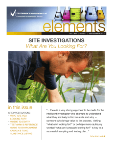 Site inveStigationS What Are You Looking For?