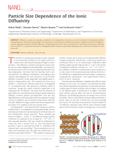 Particle Size Dependence of the Ionic Diffusivity