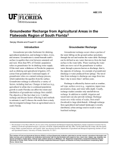 Groundwater Recharge from Agricultural Areas in the Flatwoods