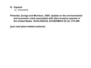 Environmental impacts of invasive species: cost assessment and