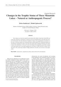 Changes in the Trophic Status of Three Mountain Lakes – Natural or