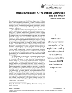 Market Efficiency: A Theoretical Distinction and So What?