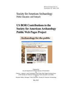 Society for American Archaeology US BOR Contributions to the