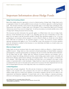 Important Information about Hedge Funds