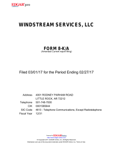 windstream services, llc - Windstream Investor Relations