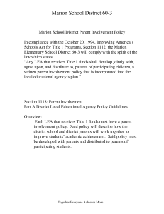 Marion Elementary School Title 1 Parent Involvement Policy