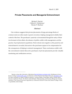 Private Placements and Managerial Entrenchment