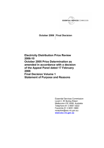 ESC Victoria Electricity Distribution Price Review 2006