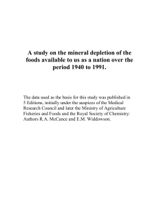 A study on the mineral depletion of the foods available to us as a
