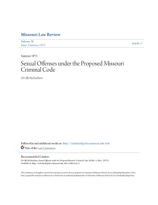 Sexual Offenses under the Proposed Missouri Criminal Code
