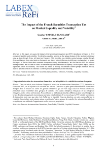 The Impact of the French Securities Transaction Tax on Market