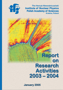 2004 Report on Research Activities 2003