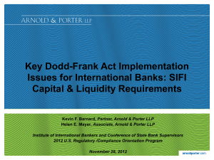 Key Dodd-Frank Act Implementation Issues for International Banks