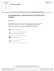 Counterfactuals, Causal Inference, and Historical Analysis