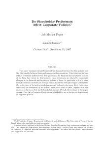 Do Shareholder Preferences Affect Corporate